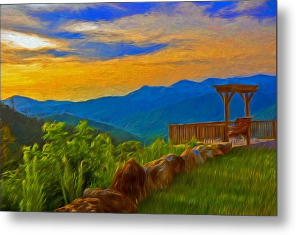 Blue Ridge Sunset From Mama Gertie's Hideaway Metal Print