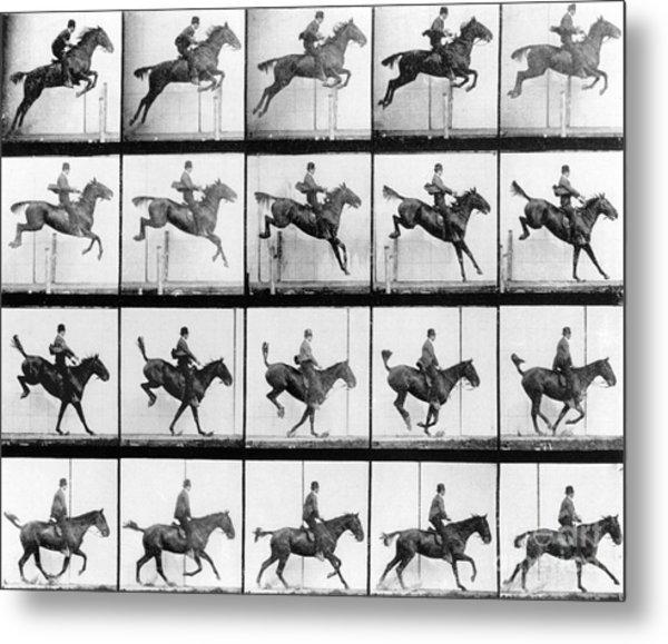 Man And Horse Jumping Metal Print