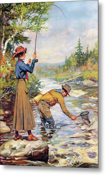Man And Woman By Stream Metal Print