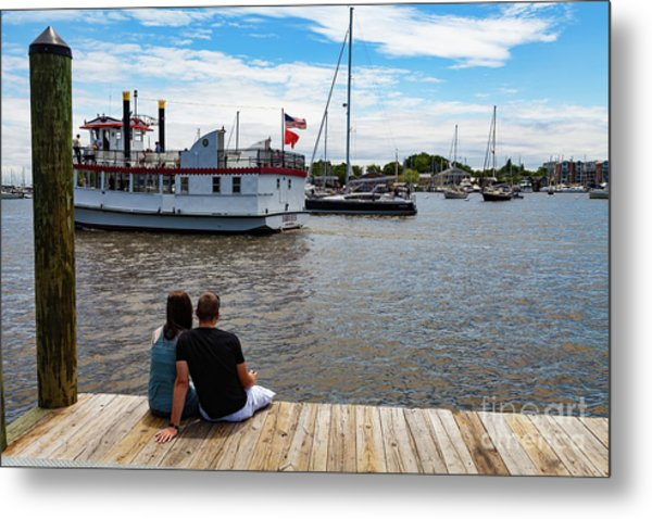 Man And Woman Sitting On The Dock Metal Print
