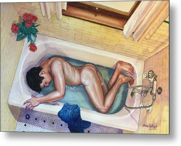 Man In Bathtub #3 Metal Print