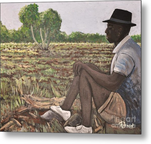 Man In Field Burkina Faso Series Metal Print