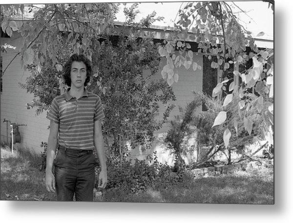Man In Front Of Cinder-block Home, 1973 Metal Print
