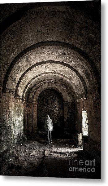 Man Inside A Ruined Chapel Metal Print