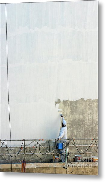 Man Painting The Facade Of A Building Metal Print