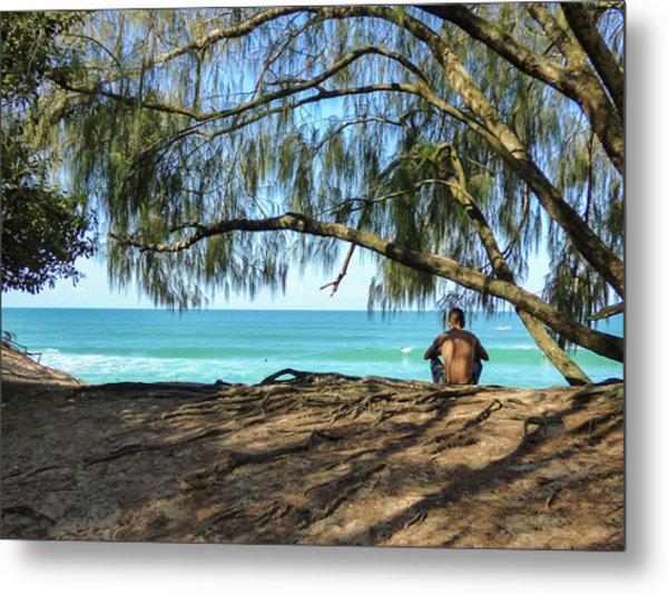 Man Relaxing At The Beach Metal Print