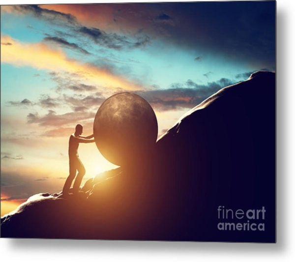 Man Rolling Huge Concrete Ball Up Hill Metal Print