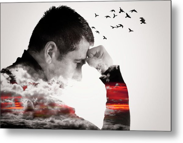 Man Thinking Double Exposure With Birds Metal Print