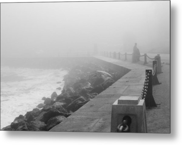 Man Waiting In Fog Metal Print