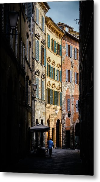 Man Walking Alone In Small Street In Siena, Tuscany, Italy Metal Print