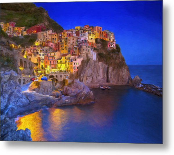 Manarola By Moonlight Metal Print