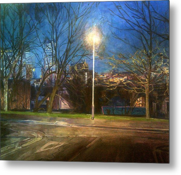 Manchester Street With Light And Trees Metal Print