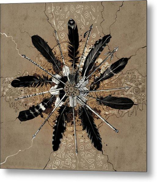 Mandala Arrow Feathers Metal Print