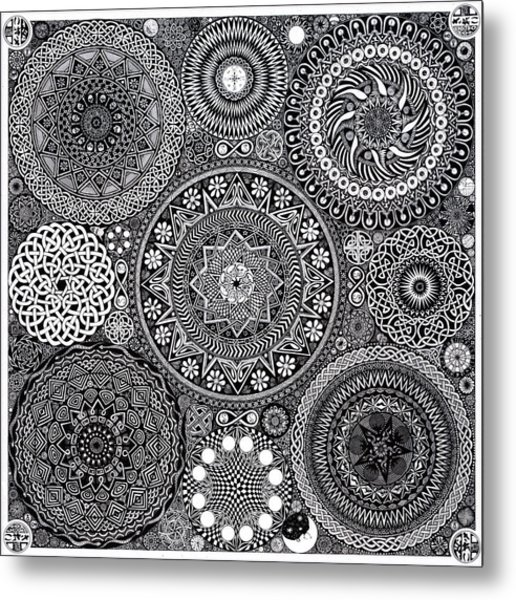 Mandala Bouquet Metal Print