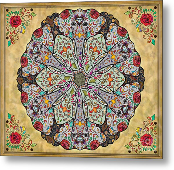 Mandala Elephants Sp Metal Print