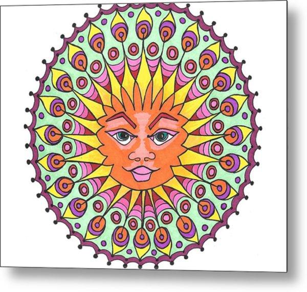 Peacock Sunburst Metal Print