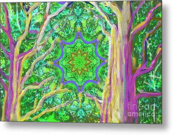 Metal Print featuring the painting Mandala Forest by Hidden Mountain