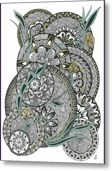 Mandalas With Gold Flowers Metal Print
