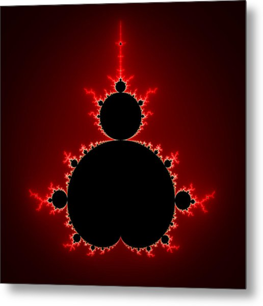 Mandelbrot Set Black And Red Square Format Metal Print