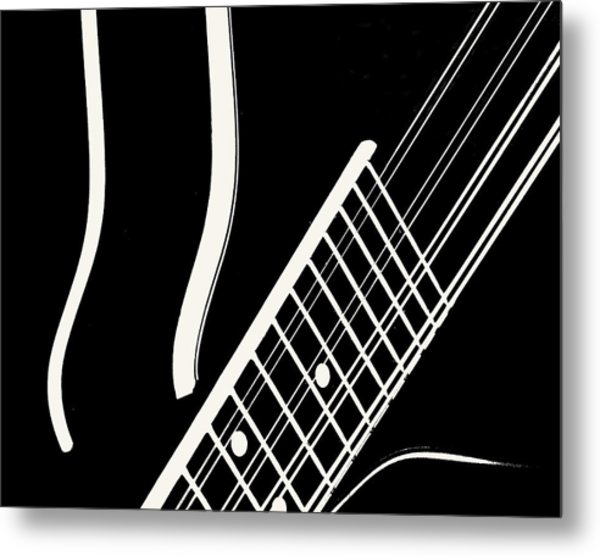 Mandolin Close Bw Metal Print