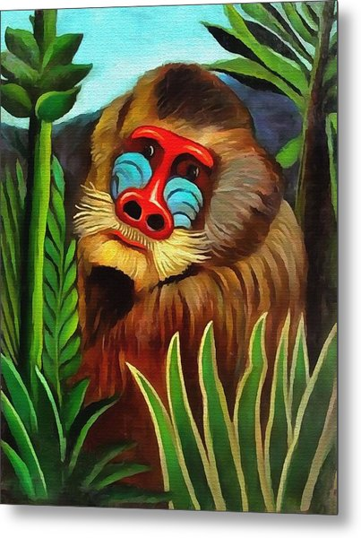 Mandrill In The Jungle Metal Print