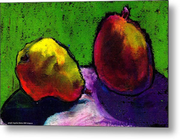 Mango And Pear Metal Print by Angelina Marino