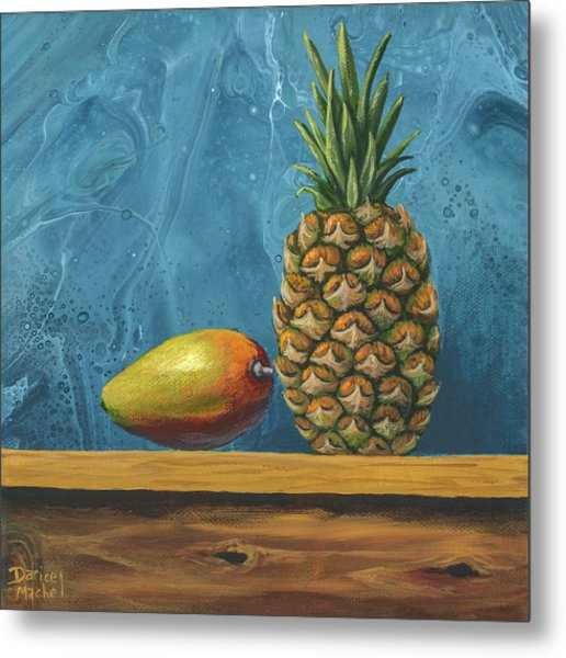 Metal Print featuring the painting Mango And Pineapple by Darice Machel McGuire