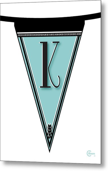 Pennant Deco Blues Banner Initial Letter K Metal Print
