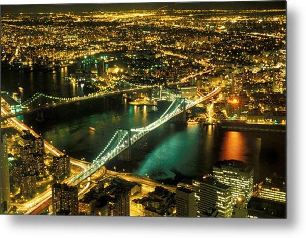 Manhattan And Brooklyn Bridges Metal Print