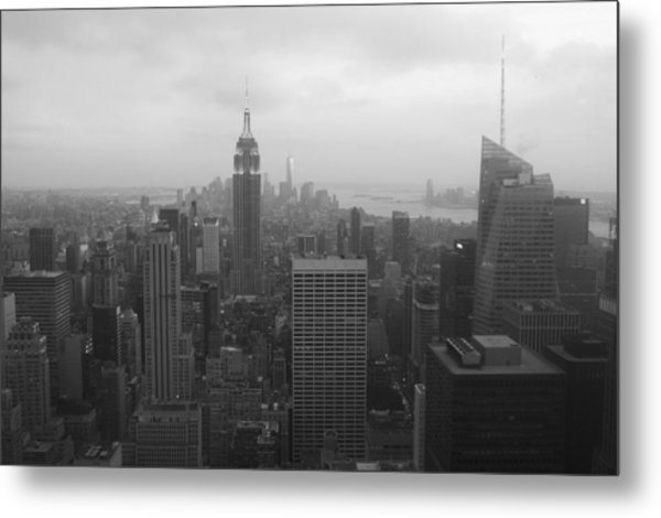 Manhattan Black And White Metal Print