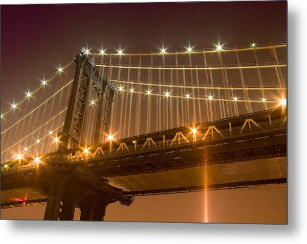 Manhattan Bridge At Night 1 Metal Print