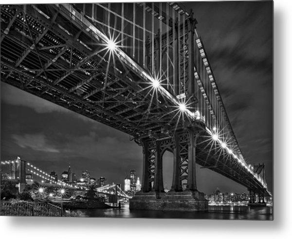 Manhattan Bridge Frames The Brooklyn Bridge Metal Print