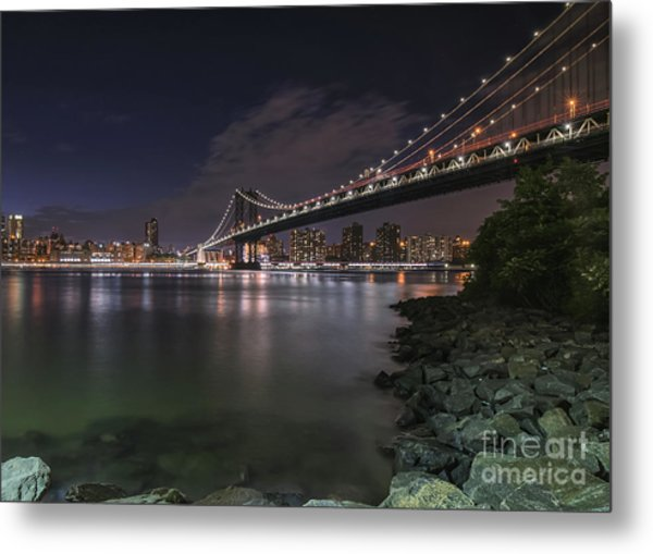 Manhattan Bridge Twinkles At Dusk Metal Print