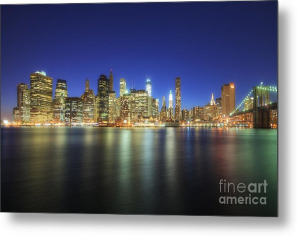 Manhattan Nite Lites Nyc Metal Print