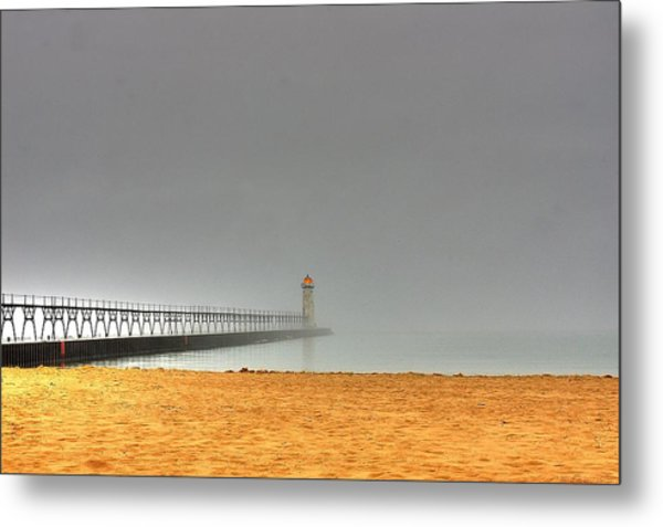 Manistee Light And Fog Metal Print