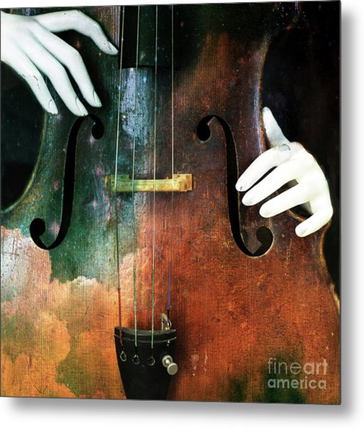 Manniquin On Cello  Metal Print by Steven Digman