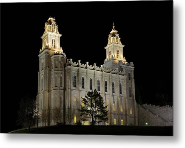 Manti Temple Night Metal Print