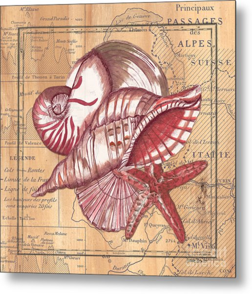Map And Shells Metal Print