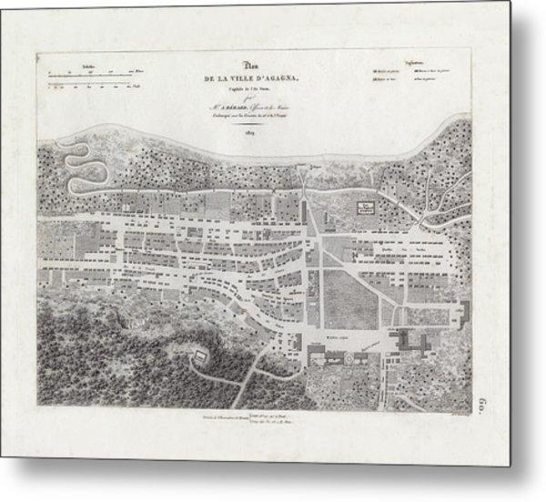 Map Of Agana Village Guam Metal Print