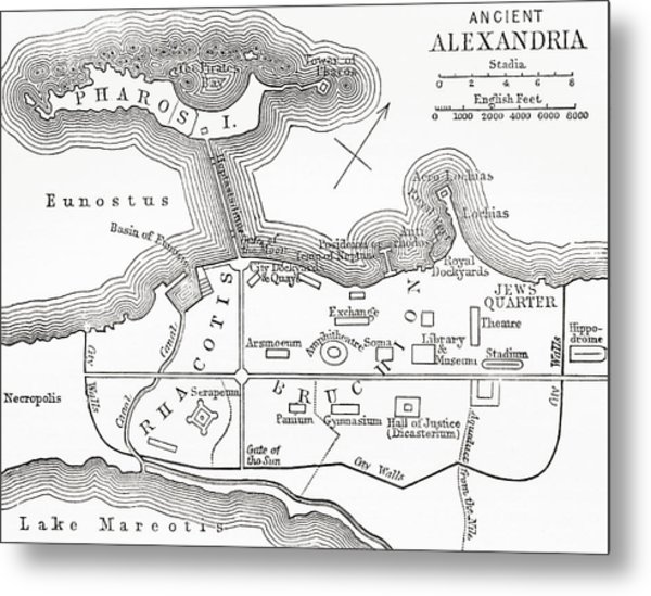 Map Of Ancient Alexandria Egypt From Drawing By Vintage