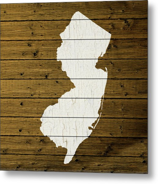 Map Of New Jersey State Outline White Distressed Paint On Reclaimed Wood Planks Custom Brown Metal Print
