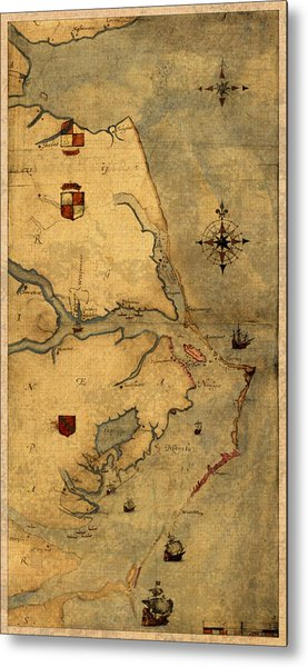 Map Of Outer Banks Vintage Coastal Handrawn Schematic On Parchment Circa 1585 Metal Print