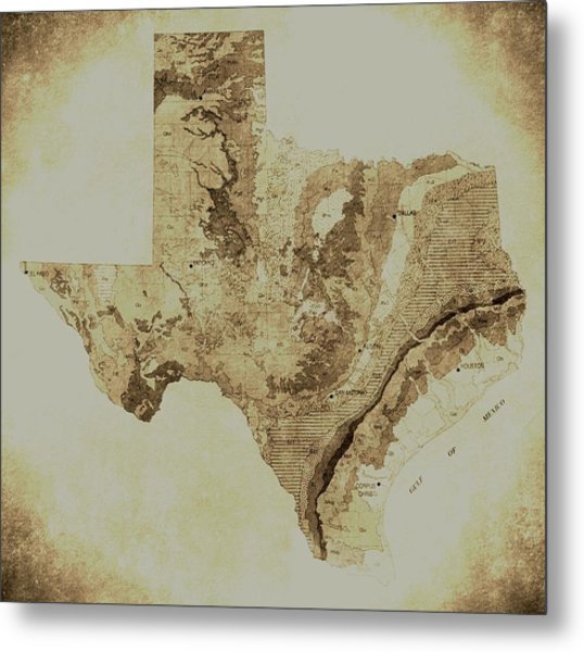 Map Of Texas In Vintage Metal Print