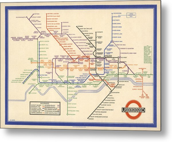 Map Of The London Underground - London Metro - 1933 - Historical Map Metal Print