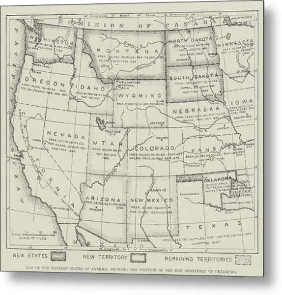Map Of The Western States Of America Metal Print