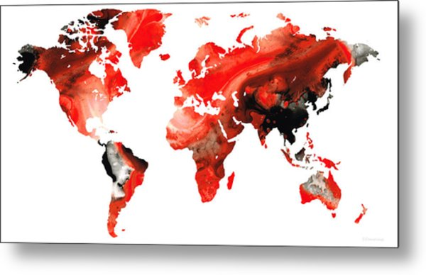 Map Of The World 10 -colorful Abstract Art Metal Print