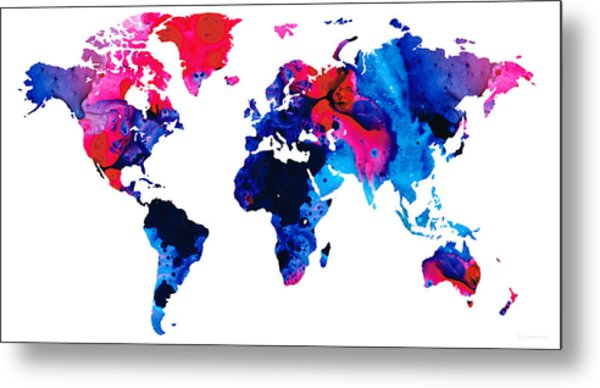 Map Of The World 9 -colorful Abstract Art Metal Print