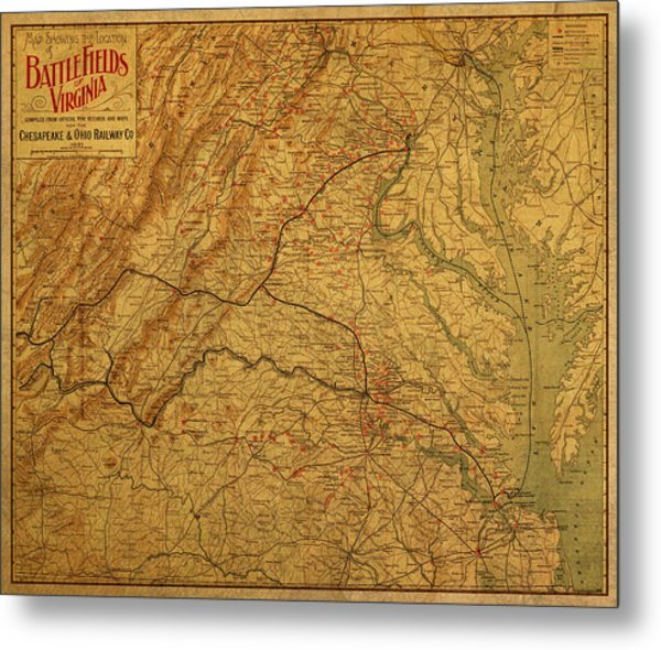 Map Of Virginia Battlefields Civil War Circa 1892 On Worn Distressed Vintage Canvas Metal Print