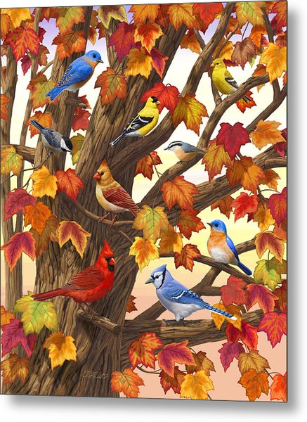 Maple Tree Marvel - Bird Painting Metal Print