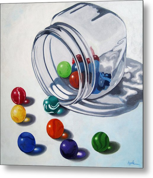 Marbles And Glass Jar Still Life Painting Metal Print